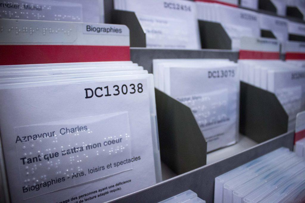 Collection audionumérique, rayons de la bibliothèque