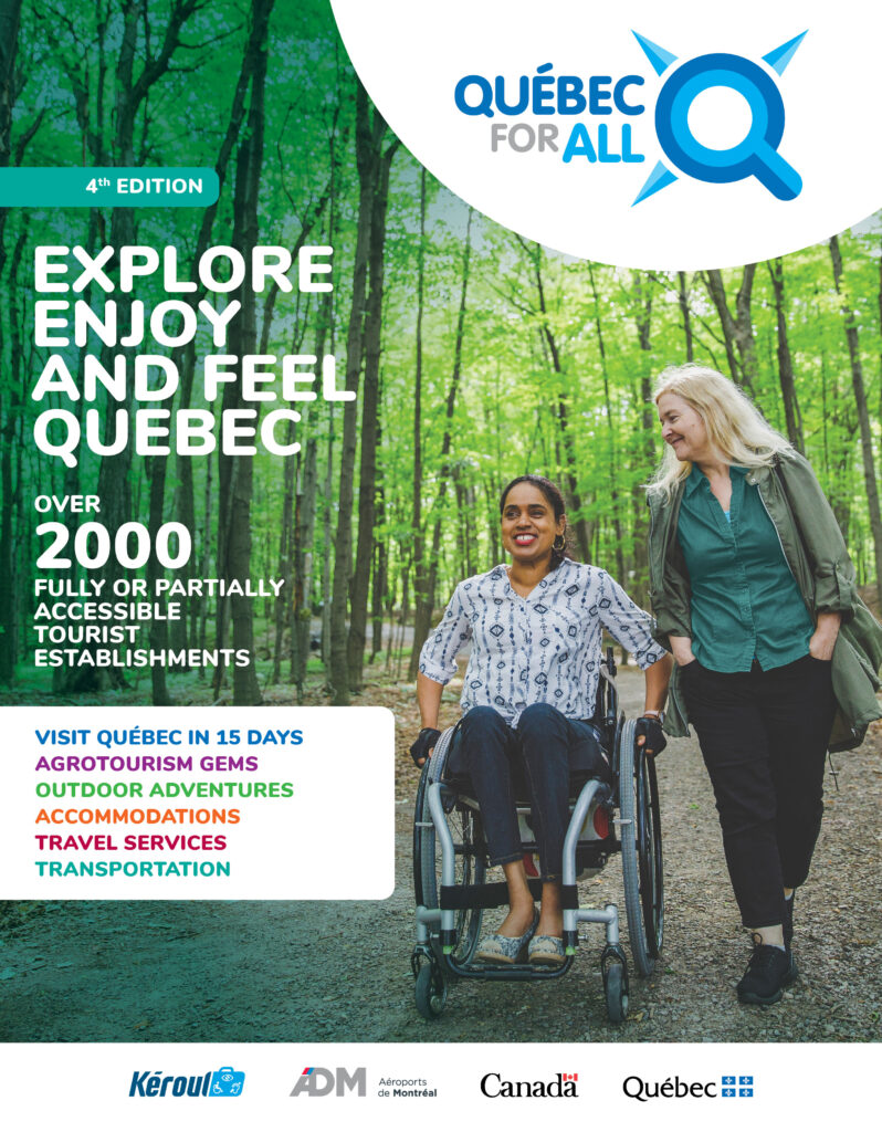 Cover of Québec for all, wheelchair user with friend in forest