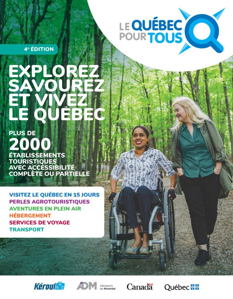 Couverture de la brochure Le Québec pour tous, personne en fauteuil et accompagnatrice