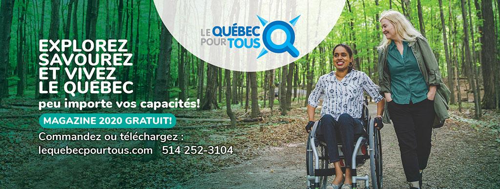 Bannière Le Québec pour tous, personne en fauteuil roulant et son amie en forêt