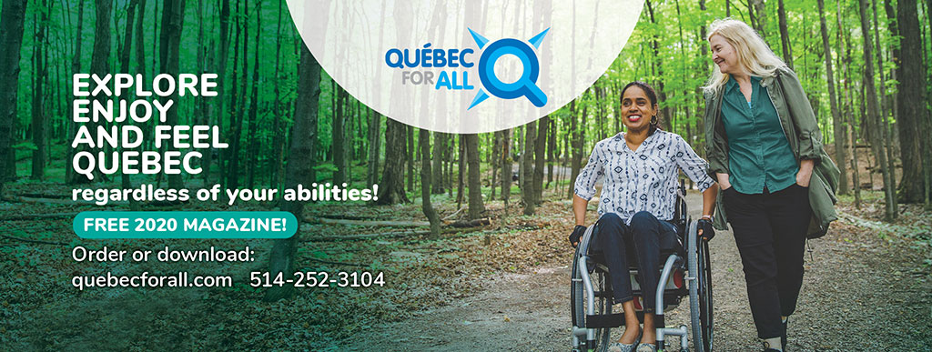 Quebec for all magazine cover, person in wheelchair with friend in forest