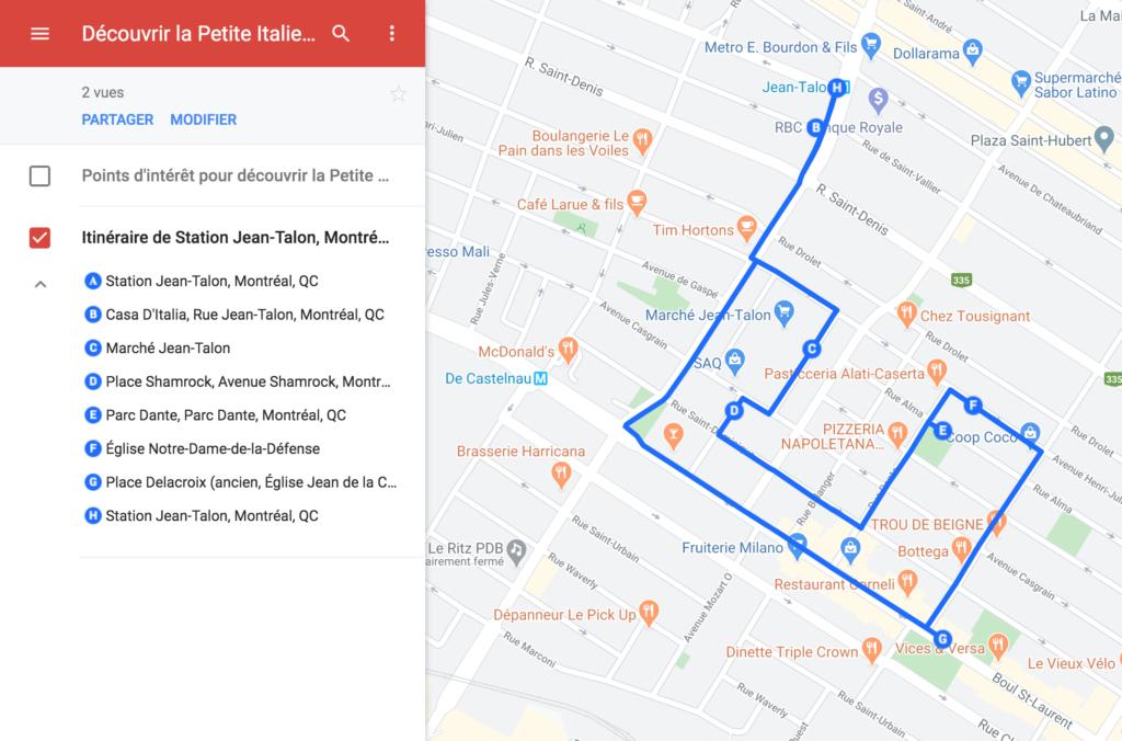 Carte interactive de la Petite Italie