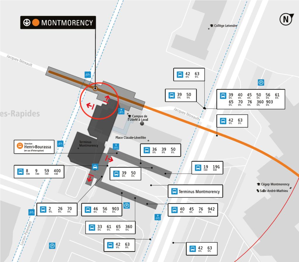 Carte des alentours de la station accessible