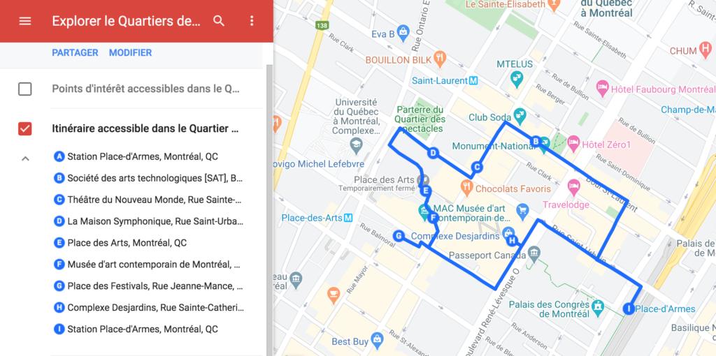 Carte Google My Maps avec les points d'intérêt